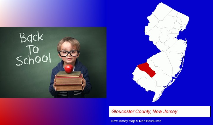 the back-to-school concept; Gloucester County, New Jersey highlighted in red on a map