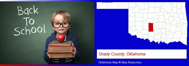 the back-to-school concept; Grady County, Oklahoma highlighted in red on a map