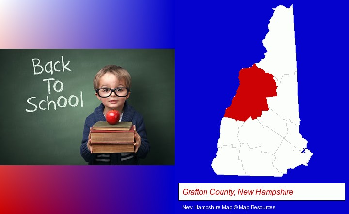 the back-to-school concept; Grafton County, New Hampshire highlighted in red on a map