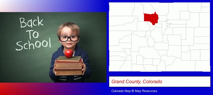 the back-to-school concept; Grand County, Colorado highlighted in red on a map