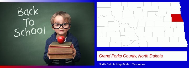 the back-to-school concept; Grand Forks County, North Dakota highlighted in red on a map