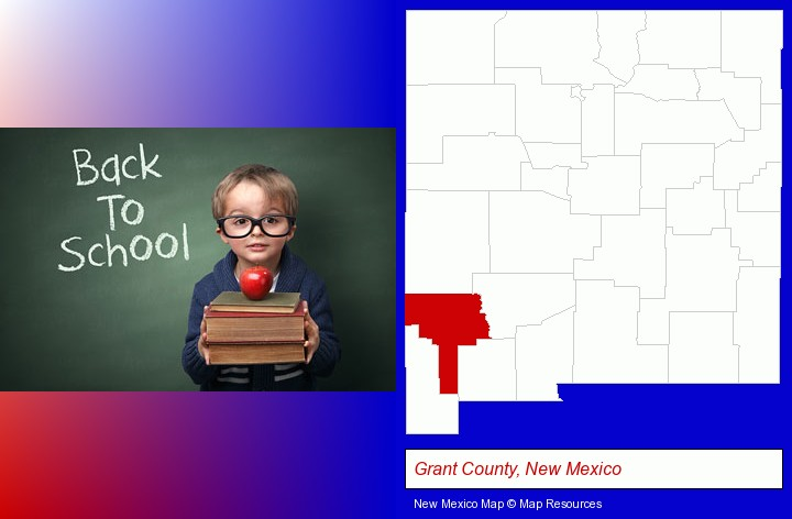 the back-to-school concept; Grant County, New Mexico highlighted in red on a map