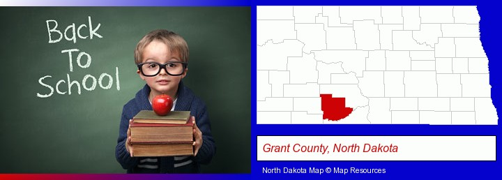 the back-to-school concept; Grant County, North Dakota highlighted in red on a map