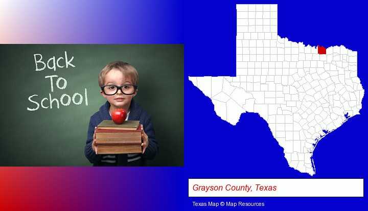 the back-to-school concept; Grayson County, Texas highlighted in red on a map