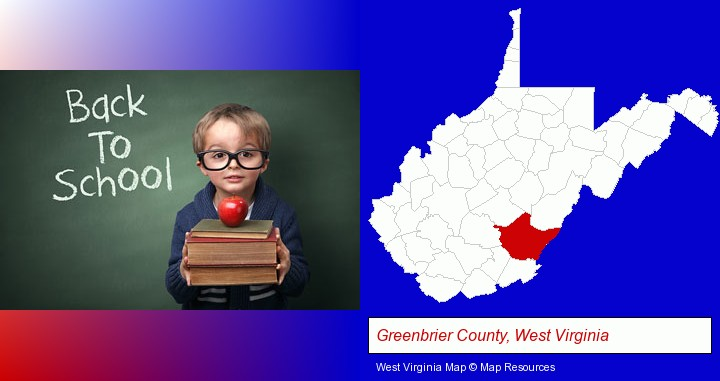 the back-to-school concept; Greenbrier County, West Virginia highlighted in red on a map