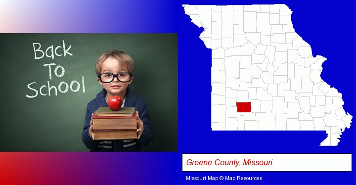 the back-to-school concept; Greene County, Missouri highlighted in red on a map