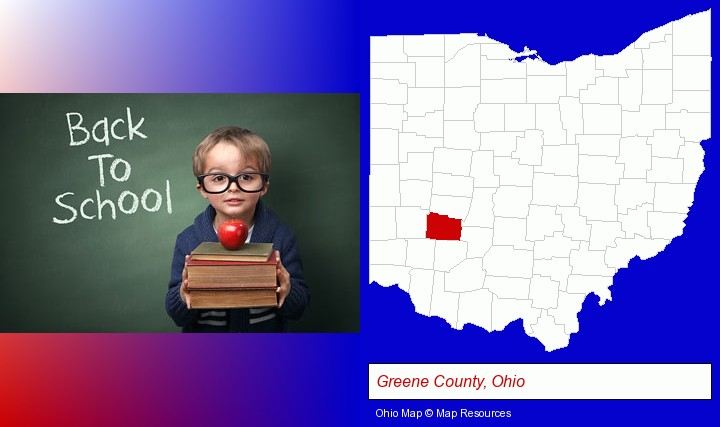 the back-to-school concept; Greene County, Ohio highlighted in red on a map