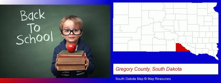the back-to-school concept; Gregory County, South Dakota highlighted in red on a map