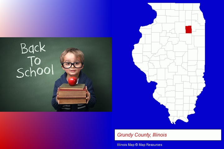 the back-to-school concept; Grundy County, Illinois highlighted in red on a map