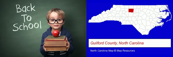 the back-to-school concept; Guilford County, North Carolina highlighted in red on a map