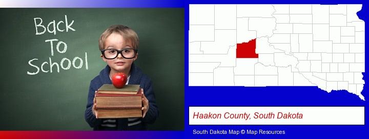 the back-to-school concept; Haakon County, South Dakota highlighted in red on a map