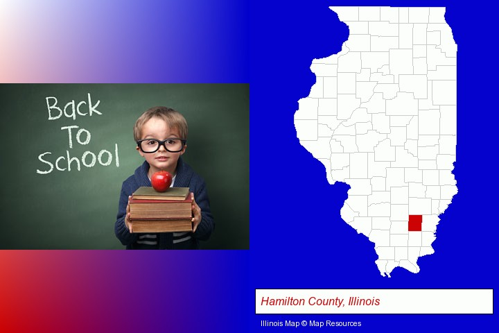 the back-to-school concept; Hamilton County, Illinois highlighted in red on a map