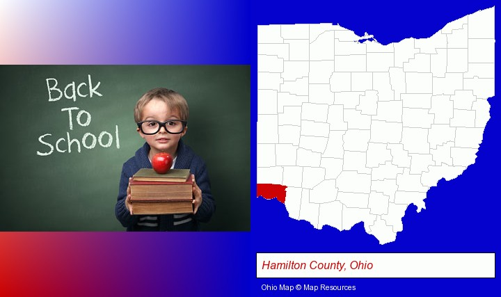 the back-to-school concept; Hamilton County, Ohio highlighted in red on a map
