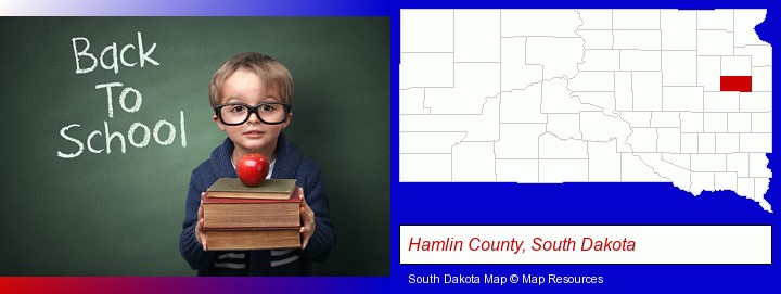 the back-to-school concept; Hamlin County, South Dakota highlighted in red on a map