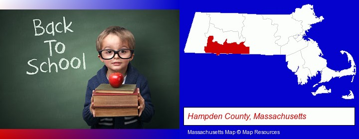 the back-to-school concept; Hampden County, Massachusetts highlighted in red on a map