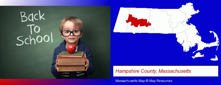 the back-to-school concept; Hampshire County, Massachusetts highlighted in red on a map