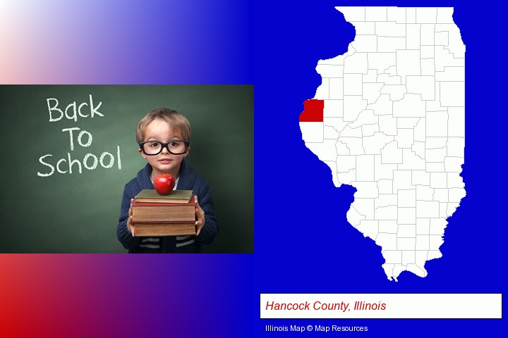 the back-to-school concept; Hancock County, Illinois highlighted in red on a map