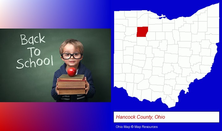 the back-to-school concept; Hancock County, Ohio highlighted in red on a map
