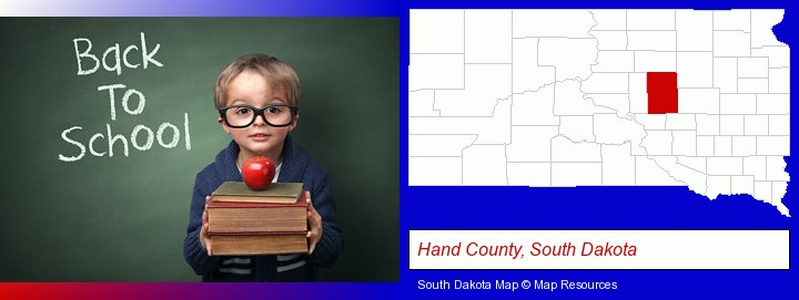 the back-to-school concept; Hand County, South Dakota highlighted in red on a map