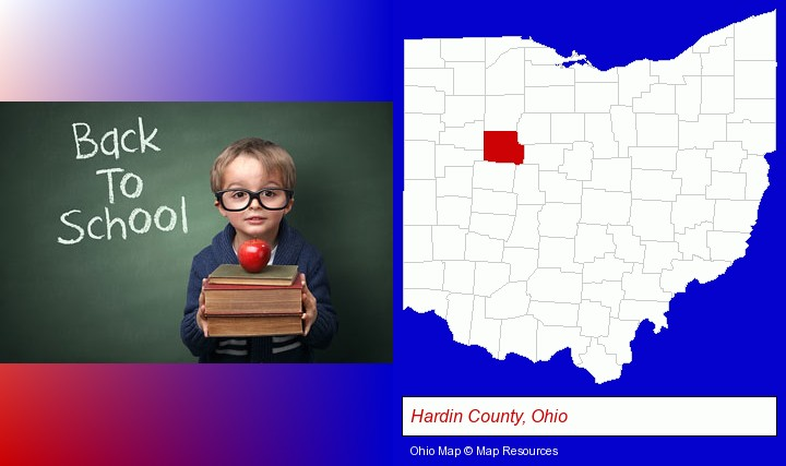 the back-to-school concept; Hardin County, Ohio highlighted in red on a map