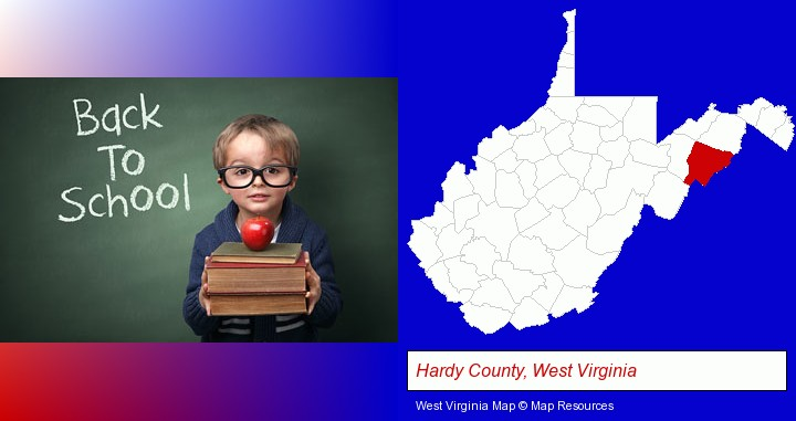 the back-to-school concept; Hardy County, West Virginia highlighted in red on a map