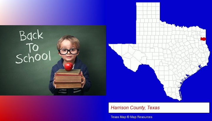 the back-to-school concept; Harrison County, Texas highlighted in red on a map
