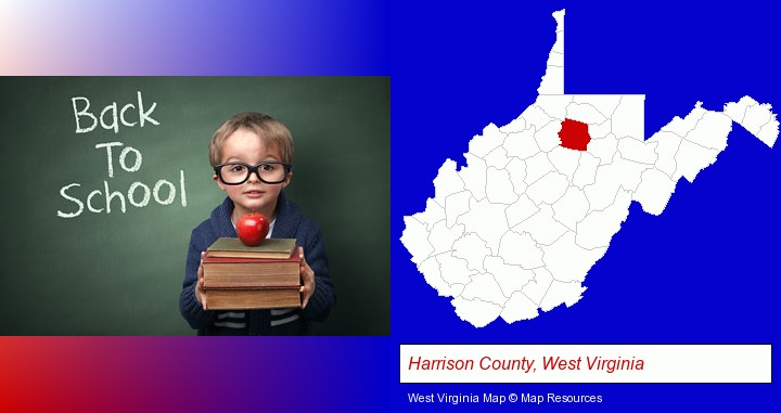 the back-to-school concept; Harrison County, West Virginia highlighted in red on a map