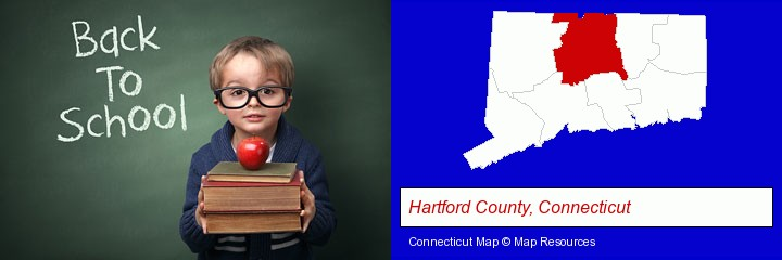 the back-to-school concept; Hartford County, Connecticut highlighted in red on a map