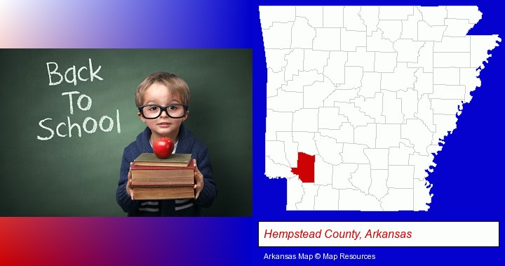 the back-to-school concept; Hempstead County, Arkansas highlighted in red on a map