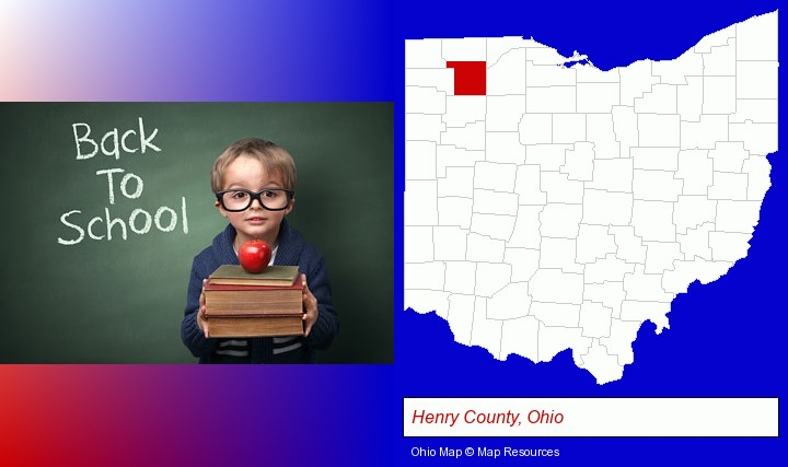 the back-to-school concept; Henry County, Ohio highlighted in red on a map
