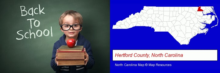 the back-to-school concept; Hertford County, North Carolina highlighted in red on a map