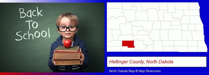 the back-to-school concept; Hettinger County, North Dakota highlighted in red on a map