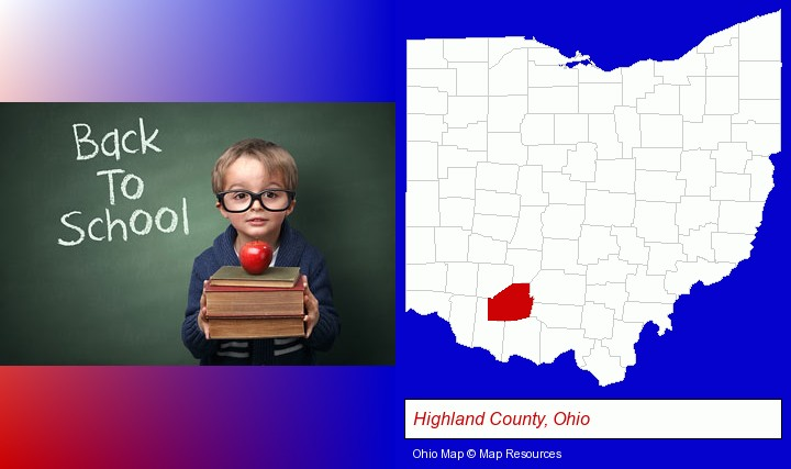 the back-to-school concept; Highland County, Ohio highlighted in red on a map