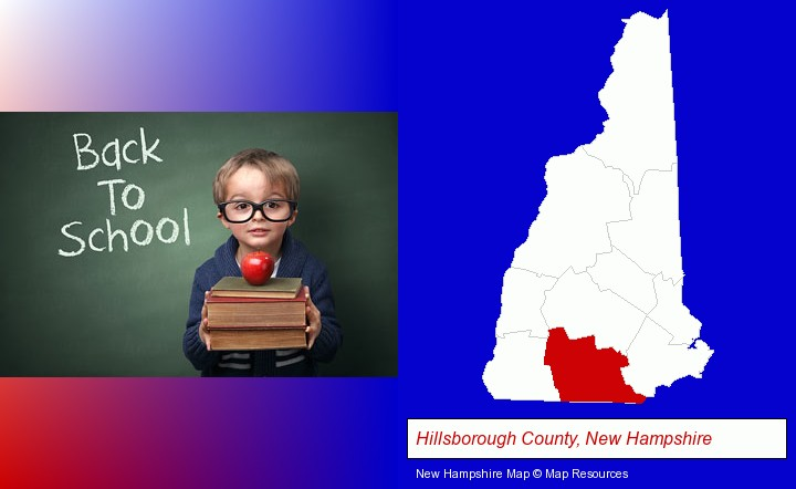 the back-to-school concept; Hillsborough County, New Hampshire highlighted in red on a map
