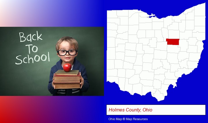 the back-to-school concept; Holmes County, Ohio highlighted in red on a map