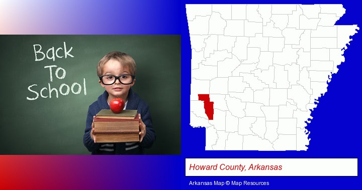 the back-to-school concept; Howard County, Arkansas highlighted in red on a map