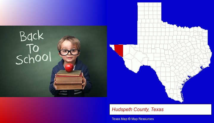 the back-to-school concept; Hudspeth County, Texas highlighted in red on a map
