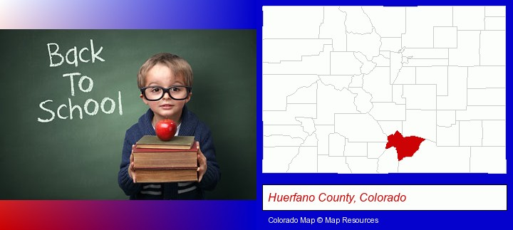 the back-to-school concept; Huerfano County, Colorado highlighted in red on a map