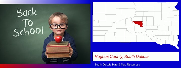 the back-to-school concept; Hughes County, South Dakota highlighted in red on a map