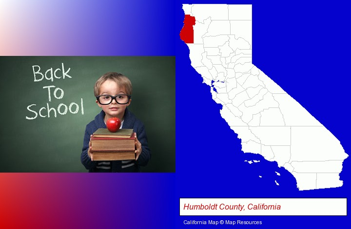 the back-to-school concept; Humboldt County, California highlighted in red on a map