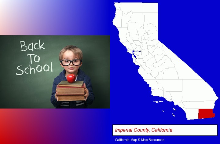the back-to-school concept; Imperial County, California highlighted in red on a map