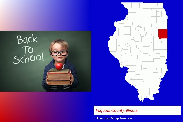the back-to-school concept; Iroquois County, Illinois highlighted in red on a map