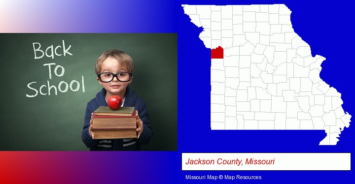 the back-to-school concept; Jackson County, Missouri highlighted in red on a map