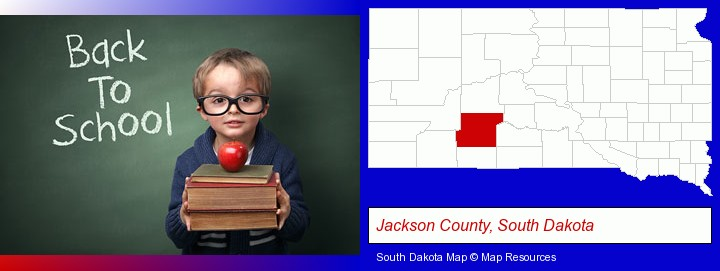 the back-to-school concept; Jackson County, South Dakota highlighted in red on a map