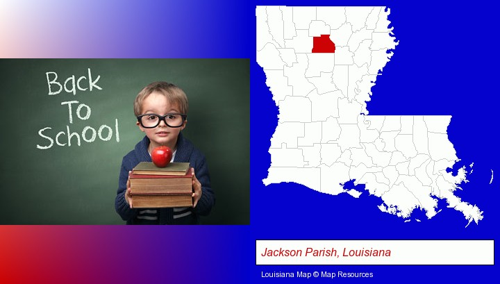 the back-to-school concept; Jackson Parish, Louisiana highlighted in red on a map