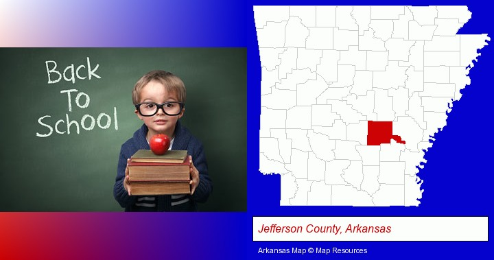 the back-to-school concept; Jefferson County, Arkansas highlighted in red on a map