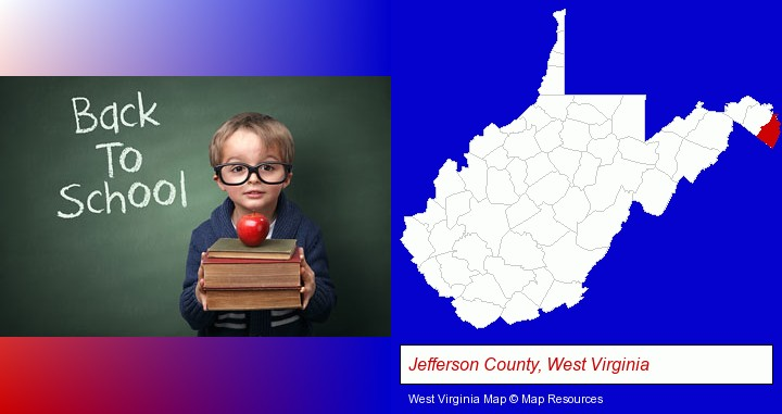 the back-to-school concept; Jefferson County, West Virginia highlighted in red on a map