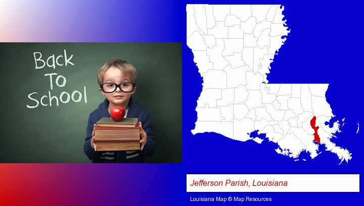 the back-to-school concept; Jefferson Parish, Louisiana highlighted in red on a map