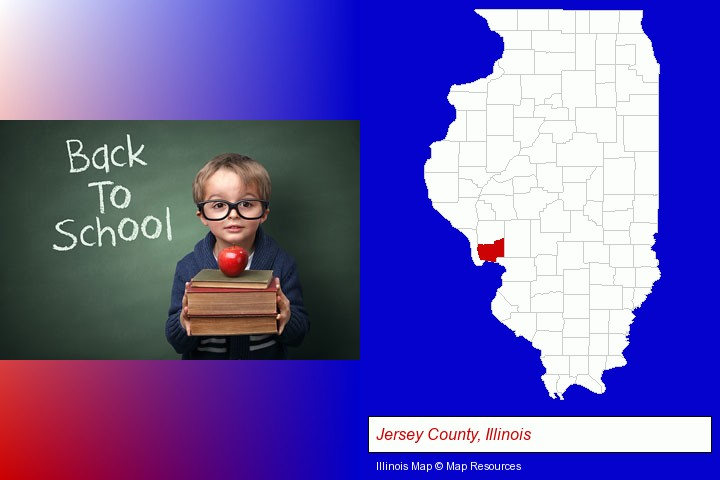 the back-to-school concept; Jersey County, Illinois highlighted in red on a map