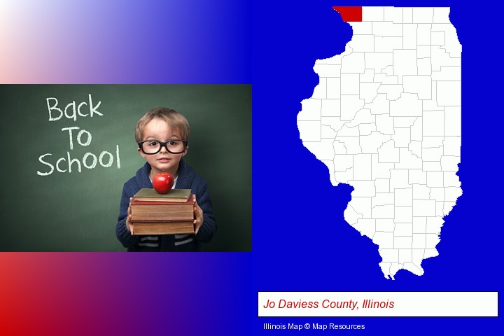 the back-to-school concept; Jo Daviess County, Illinois highlighted in red on a map